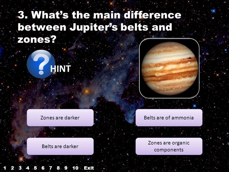 HINT Zones are darker Belts are darker Zones are organic components Zones are organic components Belts are of ammonia 3.