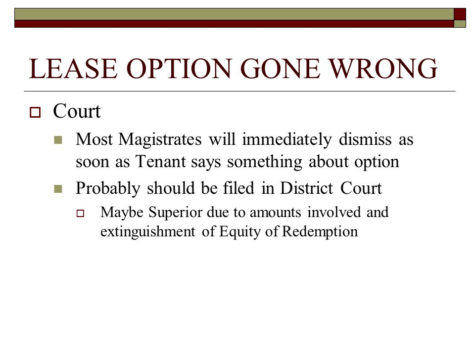 LEASE OPTION GONE WRONG  Chapter 75 Reality Continuous Violations are Separate Offenses AG has duty to investigate  Judge may order repayment of all money  Civil penalties possible Treble Damages Attorney Fees For a more in depth discussion on Chapter 75 and the case law surrounding it, please refer to North Carolina Unfair Business Practice By Noel L.