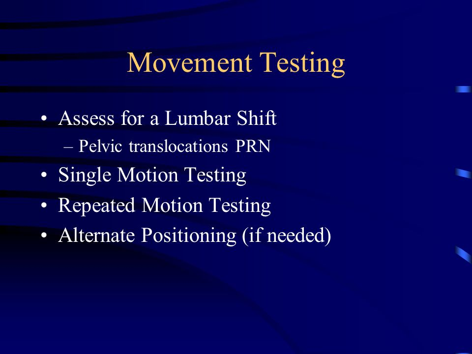 Postural Observation Presence of a Lumbar Shift –Named by the shoulder