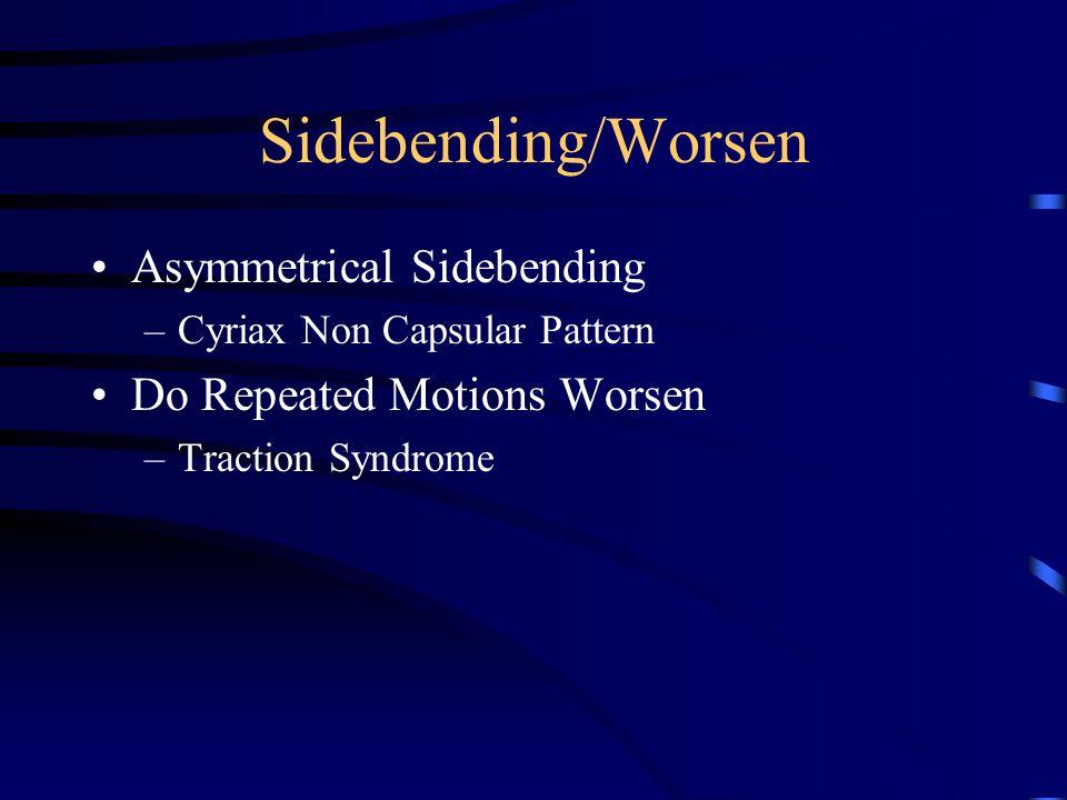 Sidebending/Improve Symmetrical (Capsular) Do Repeated Motions Improve.