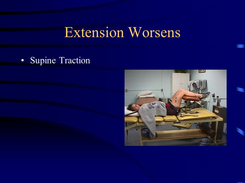 Sidebending/Worsen Asymmetrical Sidebending –Cyriax Non Capsular Pattern Do Repeated Motions Worsen –Traction Syndrome