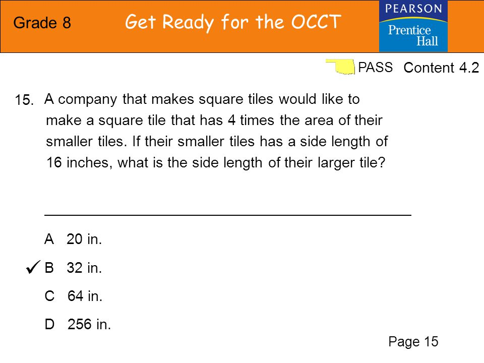 Grade 8 Get Ready for the OCCT PASS F G H J A cube has a volume.