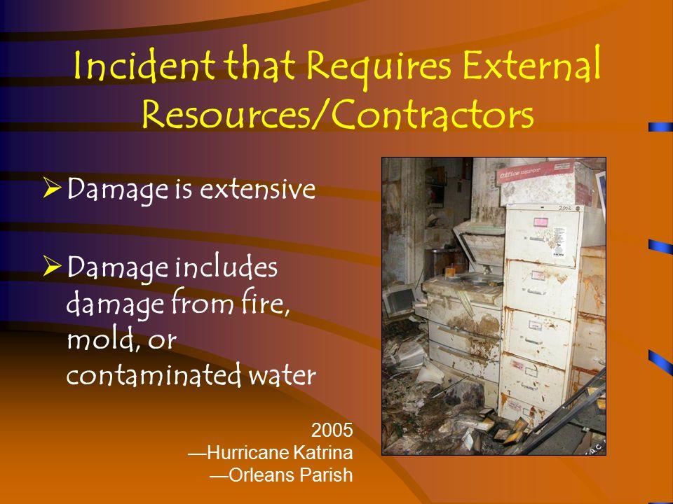 Incident that Requires External Resources/Contractors  Damage affects special media materials 2005 —Hurricane Katrina —Orleans Parish