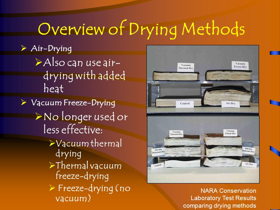 Module 2-55 Air-Drying Considerations  Pros:  Best results for photographs, if placed under restraint, and other special media (including magnetic tape)  Best for plastic coated materials, and architectural or engineering drawings  Best for minimizing corrosion of metal fasteners Records air-drying