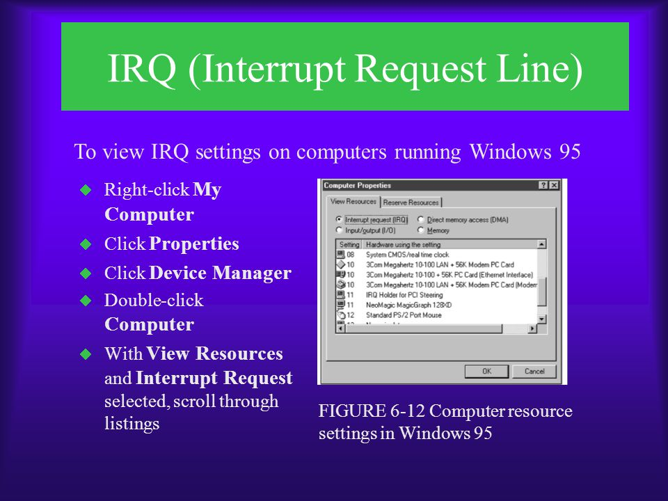 IRQ (Interrupt Request Line)  Click Start, point to Programs, point to Administrative Tools, then click Windows NT Diagnostics  Click Resources  Click IRQ  View IRQ settings FIGURE 6-13 IRQ settings displayed in Windows NT Diagnostics