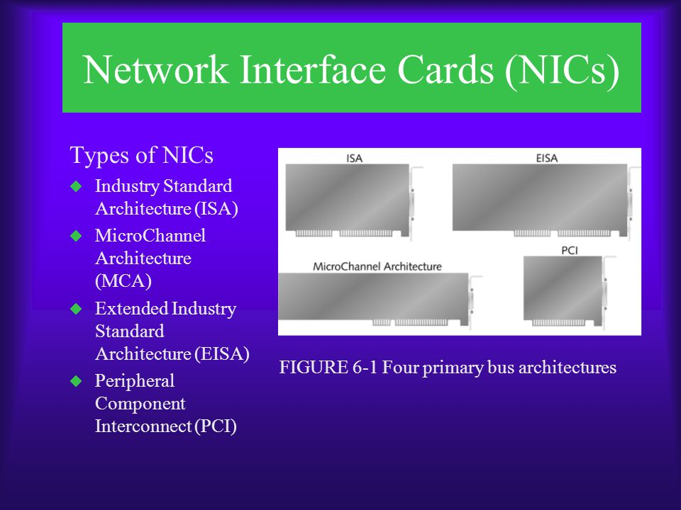 Network Interface Cards (NICs) FIGURE 6-2 Three kinds of bus connections on the same board