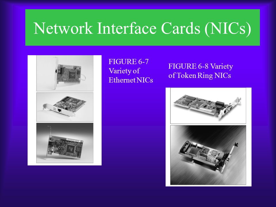 Network Interface Cards (NICs)  Installing NICs –Installing hardware –Configuring software –Configuring firmware, a combination of hardware and software Because its data can be erased or changed, the type of ROM on firmware is called erasable programmable read-only memory (EPROM)