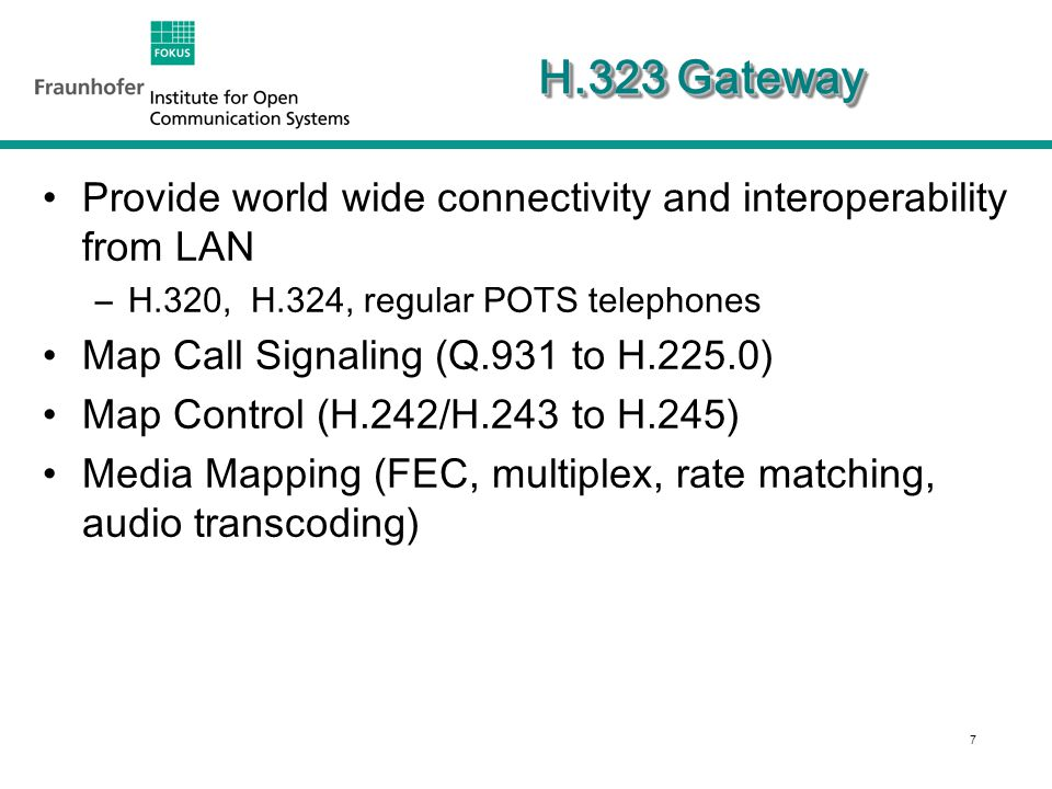 8 H.323 MCU Media Distribution –Unicast - send media to one terminal (centralized in MP; traditional model) –Multicast - send to each receiver directly –Hybrid - some of each Manage Ad Hoc multipoint calls –Join, invite, control of conference modes Multiprotocol via Gateways MCU ISDN (H.320) Gateway)