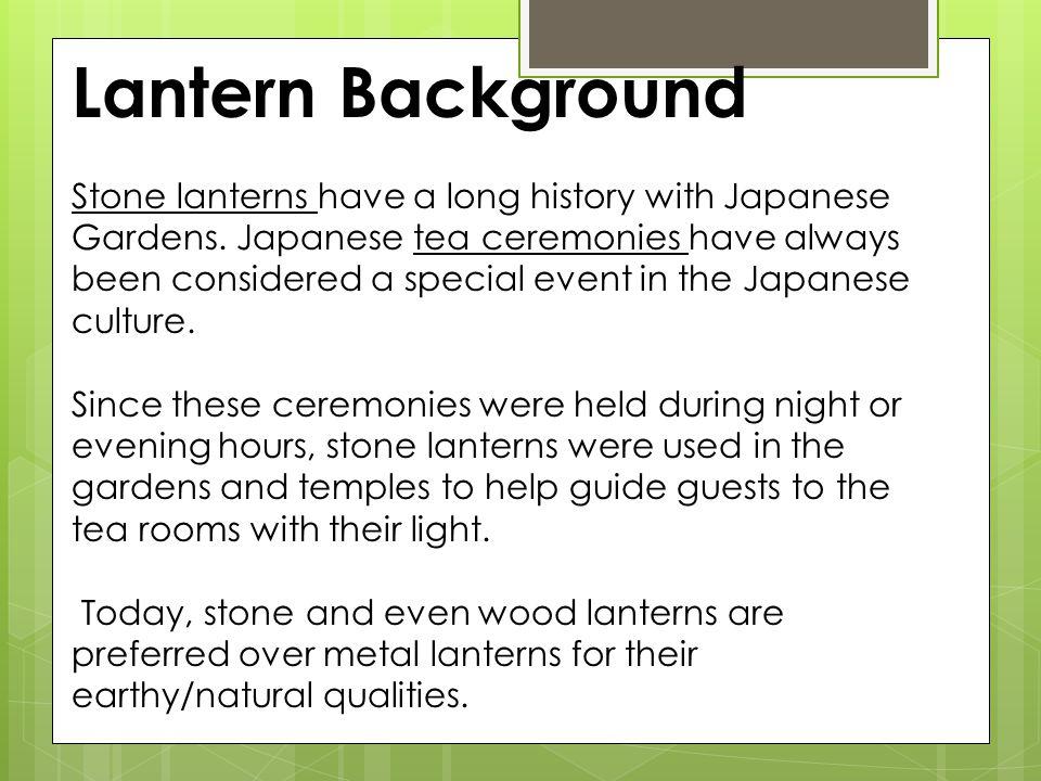 Pedestal Lantern Snow Viewing Lantern Small Set Lantern Buried Lantern Japanese garden lanterns can be classified into 4 basic categories: