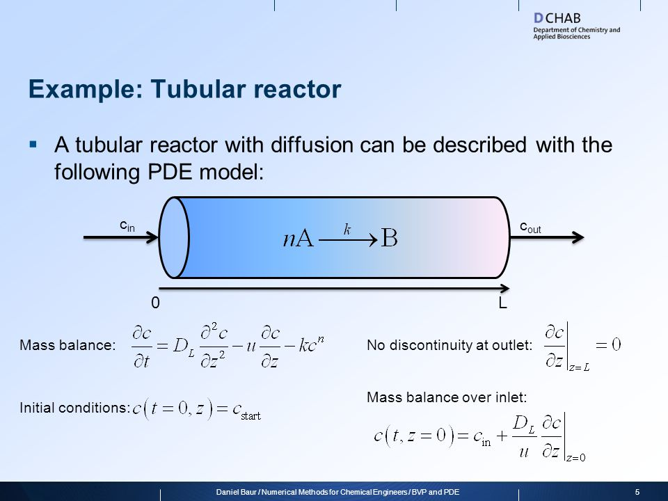Example: Tubular reactor  Let's take one step back: Local mass balance 6Daniel Baur / Numerical Methods for Chemical Engineers / BVP and PDE c in c out 0L Convection Diffusion