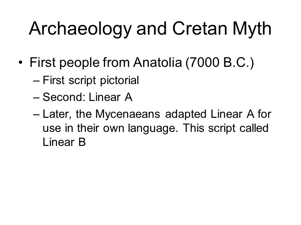 Archaeology and Cretan Myth Minoan power ends in 1450 Cnossos rebuilt but now occupied by Mycenaeans Second destruction: 1400 B.C.