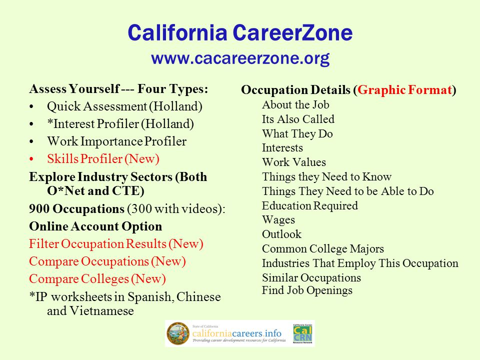 California CareerZone Portfolio Account Set-Up: Username, Password, Zip Code Expanded Portfolio Features –Save Work Importance, Interest & Skills results –Assessment Matches (Combined WIP, IP, SP) –Flagged Occupations, Colleges & Majors –Rated Occupations, Colleges & Majors –Record Notes in the Journals