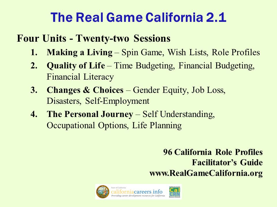 Counselors' Guide to Career Exploration Using Resources from CalCRN California Career Zone California Reality Check California Career Planning Guide The Real Game California 2.1 * 1.One brief session with a student 2.One long session with a student 3.Multiple sessions with a student 4.Full class session with a group 5.Multiple sessions with a group 6.Full term with a group*