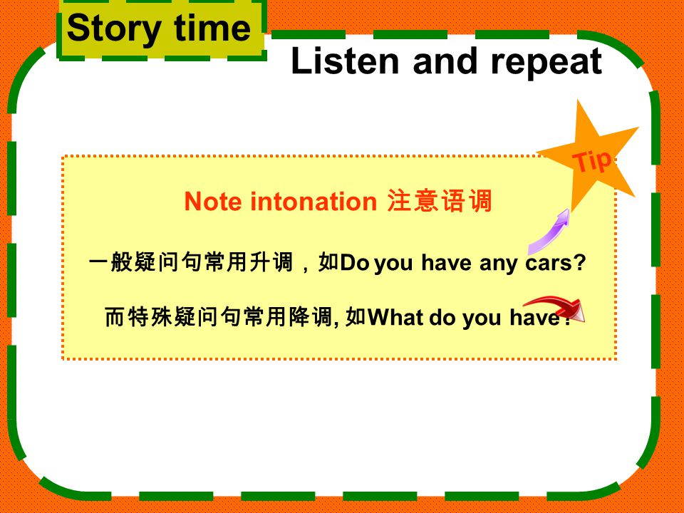 Story time Listen and repeat Note intonation 注意语调 一般疑问句常用升调,如 Do you have any cars.