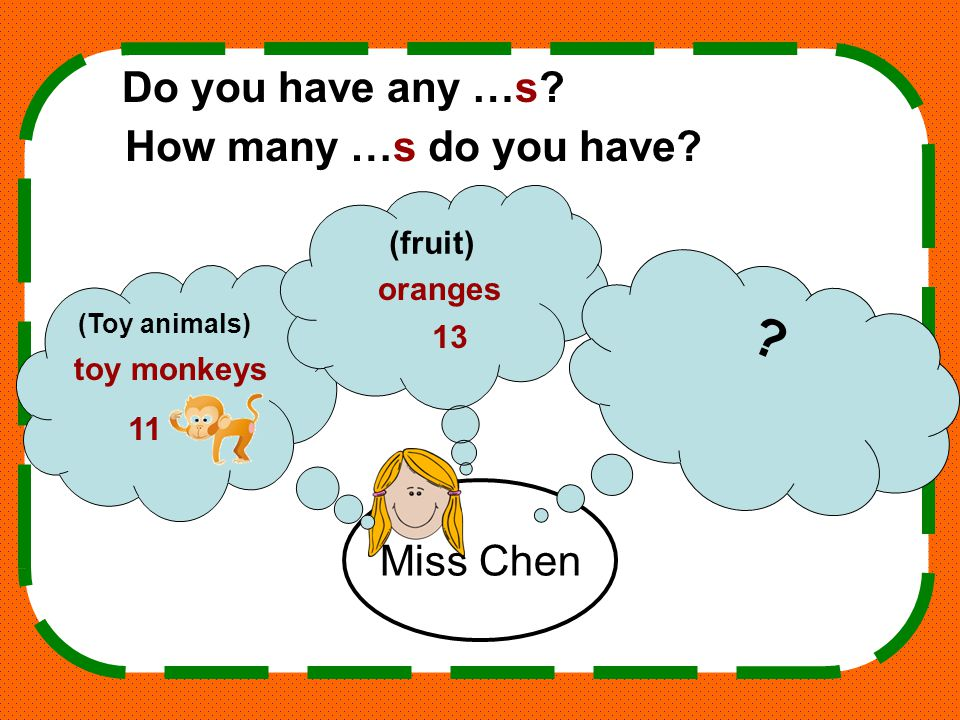 Miss Chen (Toy animals) (fruit) .Do you have any …s.