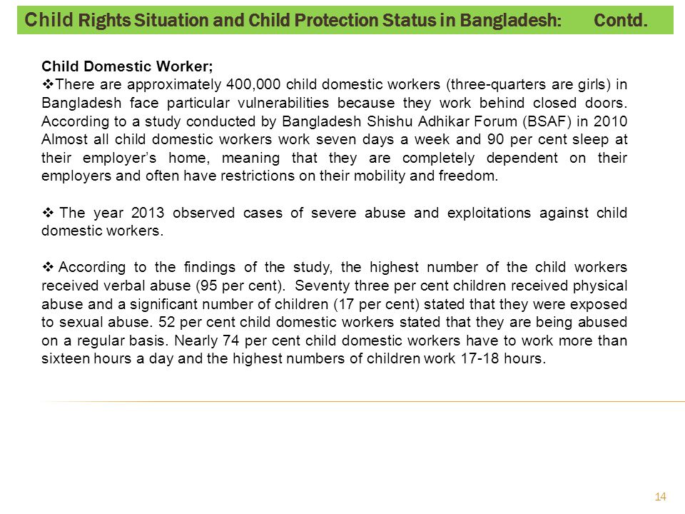 Child Sexual Abuse & Exploitation;  In Bangladesh about 20,000 children work as commercial sex workers on the streets.