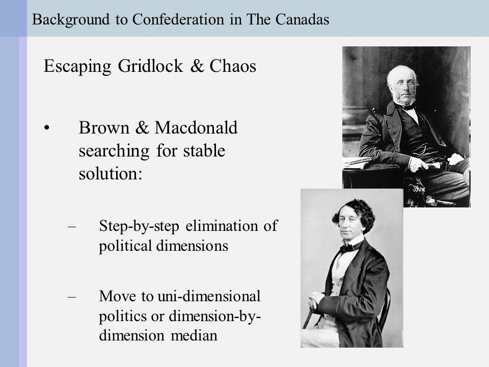 Background to Confederation in The Canadas Brown's Problem: Sectarian appeals (No Popery!) give Brown solid but limited support How can Brown expand his appeal?
