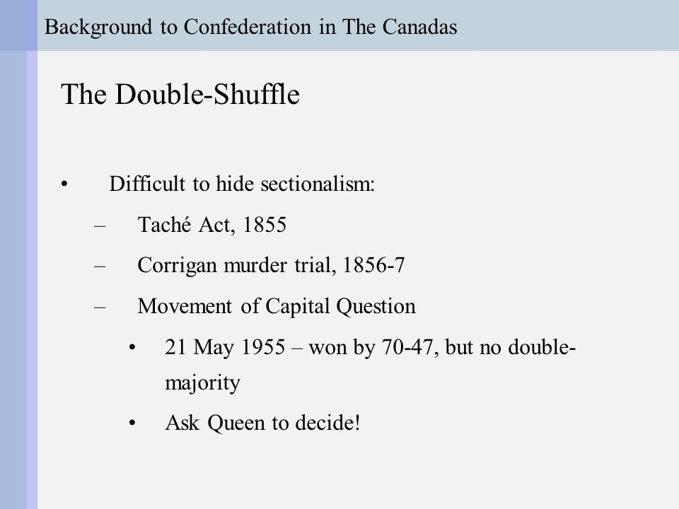 Background to Confederation in The Canadas