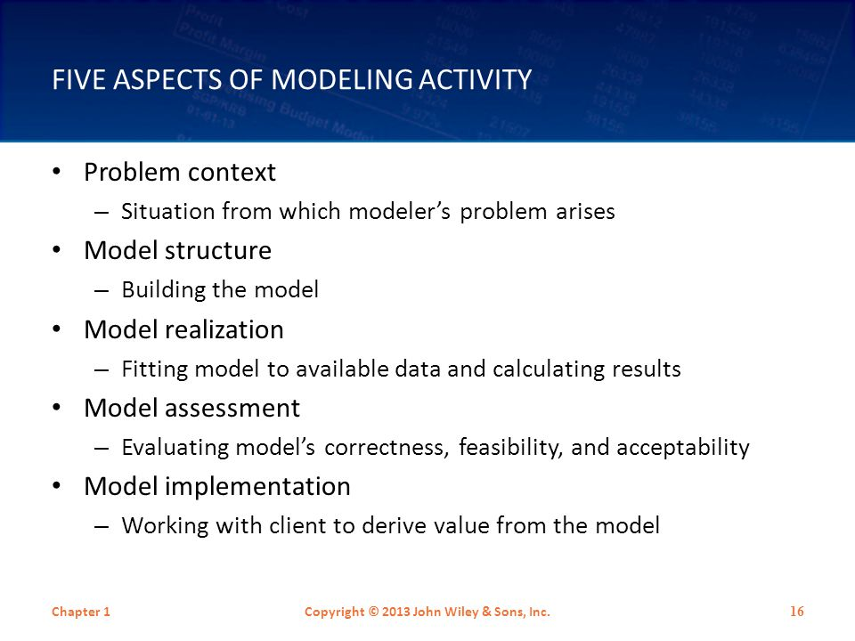 HABITS OF EXPERT MODELERS Experts: – Frequently switched among the five aspects of modeling – Spent 60% of activity time on model structure with frequent switches between model structure and model assessment.