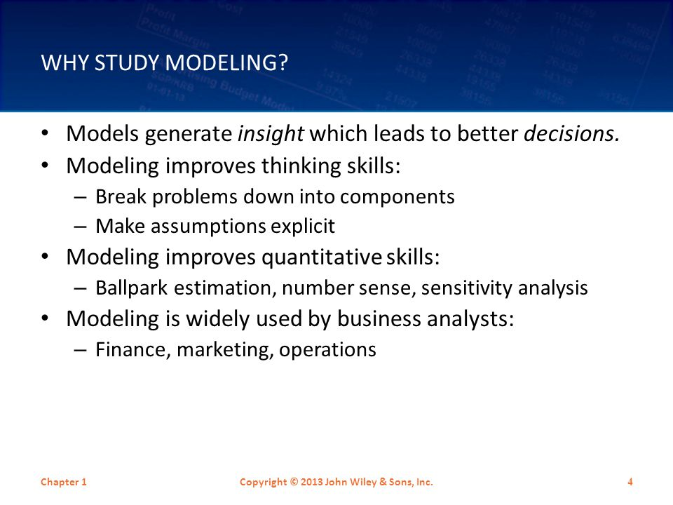 MODELS IN BUSINESS: TYPES One time decision models (usually built by the decision maker) – Will be the primary focus in this text Decision support models Embedded models – A computer makes the decision without the user being explicitly aware Models used in business education Chapter 1Copyright © 2013 John Wiley & Sons, Inc.
