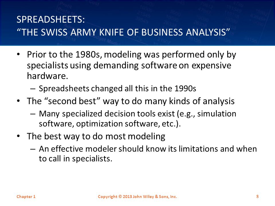 RISKS OF SPREADSHEET USE Spreadsheets contain internal errors, and more errors are introduced as these spreadsheets are used and modified.