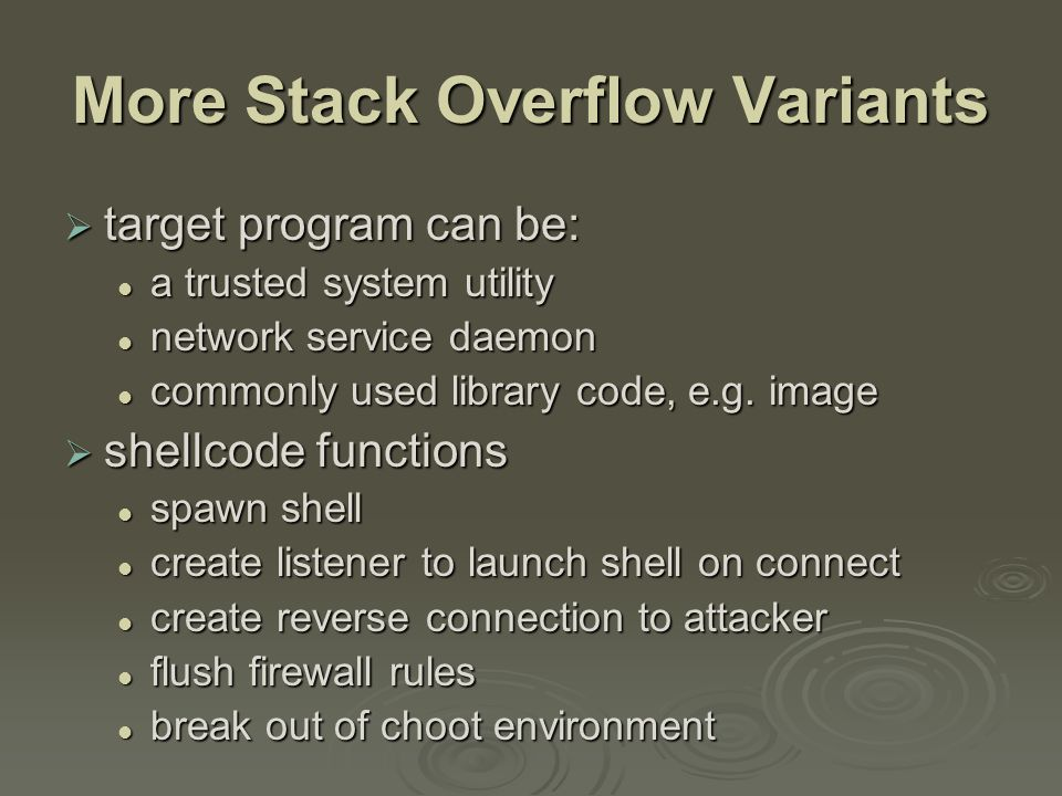 Buffer Overflow Defenses  buffer overflows are widely exploited  large amount of vulnerable code in use despite cause and countermeasures known despite cause and countermeasures known  two broad defense approaches compile-time - harden new programs compile-time - harden new programs run-time - handle attacks on existing programs run-time - handle attacks on existing programs
