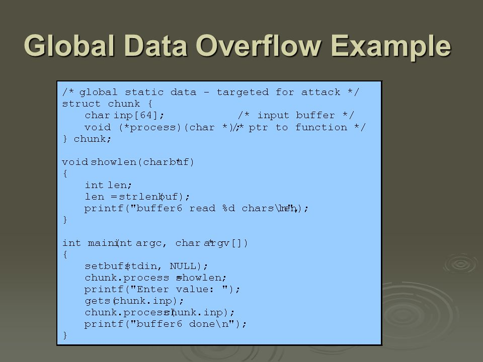 Summary  introduced basic buffer overflow attacks  stack buffer overflow details  shellcode  defenses compile-time, run-time compile-time, run-time  other related forms of attack replacement stack frame, return to system call, heap overflow, global data overflow replacement stack frame, return to system call, heap overflow, global data overflow