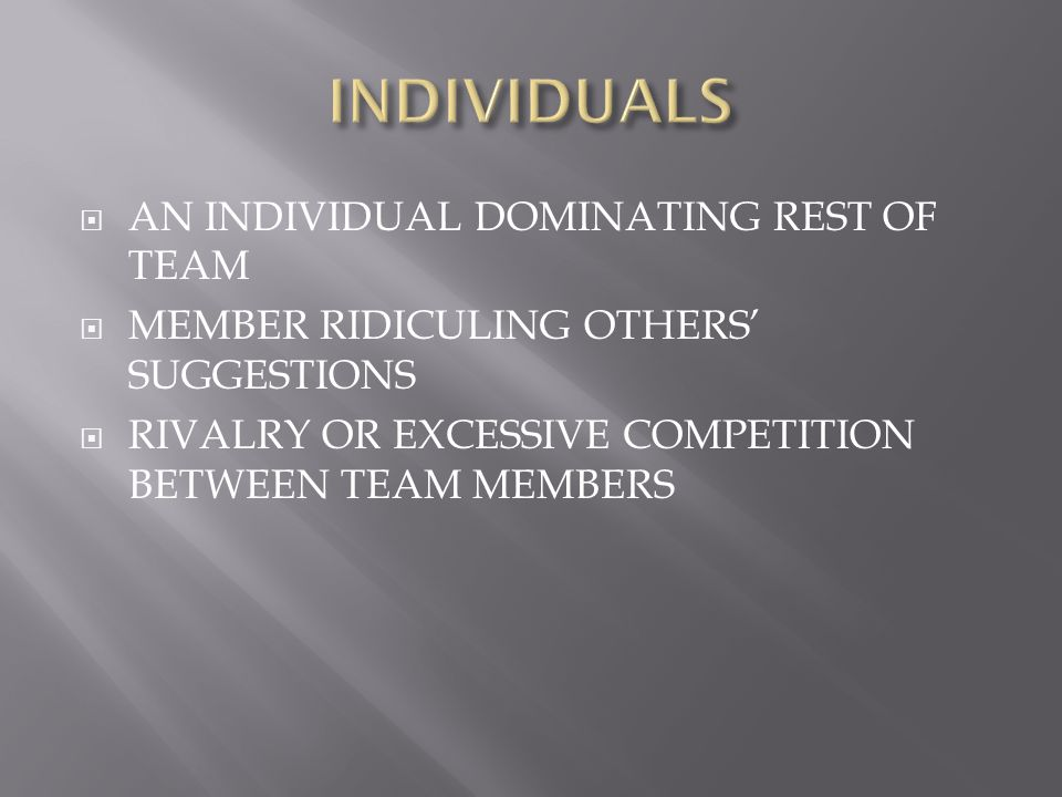  Individuals can disturb the team in a number of ways:  Dominating, Topic jumping, Showing aggression, Seeking recognition, Special interest pleading, Showing off, Withdrawing, can you think of any other behaviours.