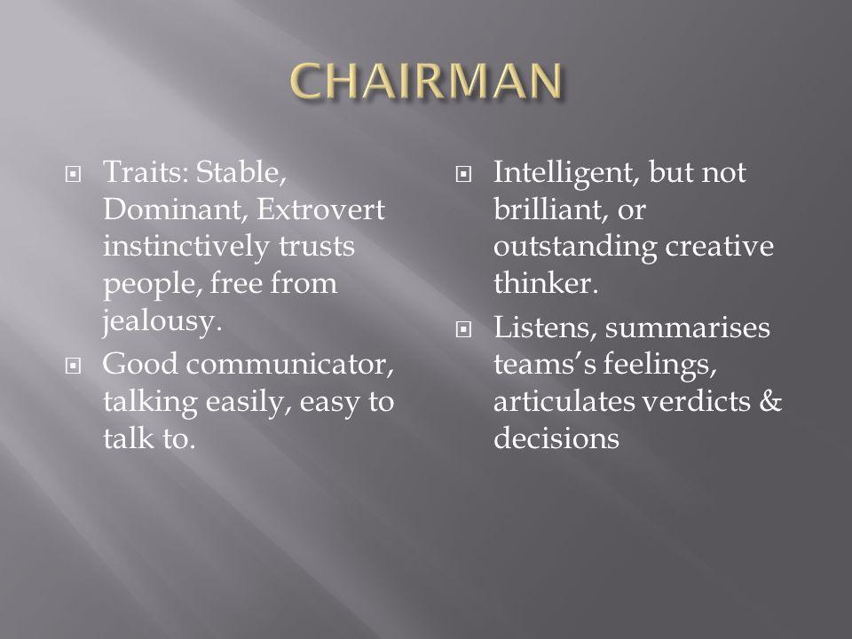  Traits: Anxious, dominant, extrovert.