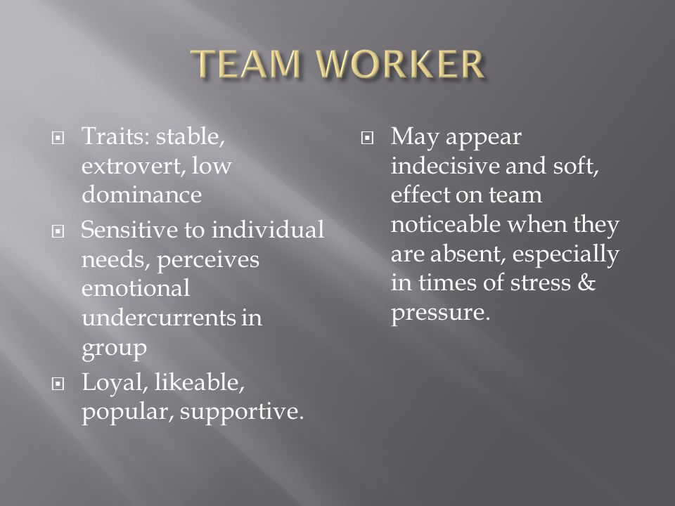  Complete self – perception inventory into your own & team composition  Is a significant role missing.