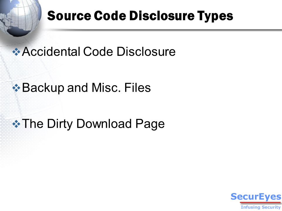 Accidental Disclosure  Part of the Source Code is available in the HTML source code.