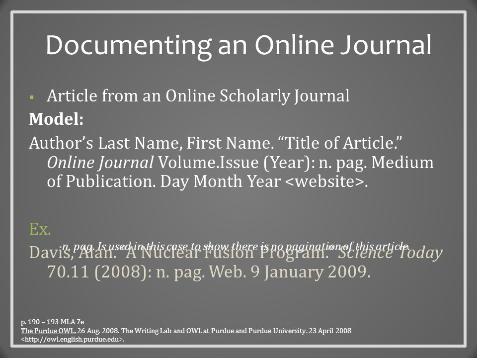 Documenting Websites Model for an entire website: Author/Creators Last name, First name.