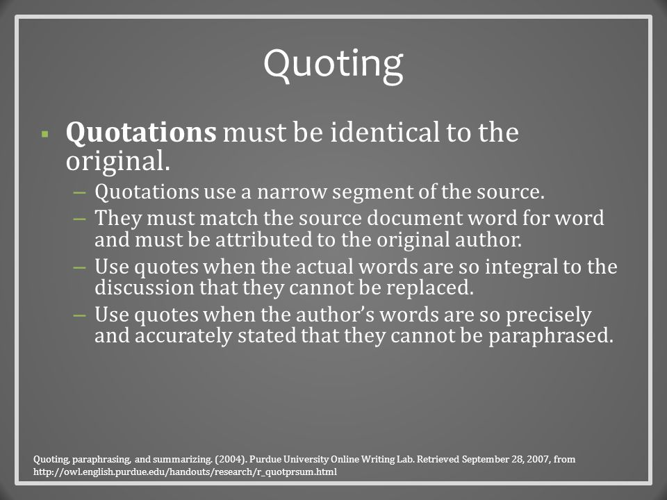 Signal Phrases and In-Text Citation  Signal phrases introduce someone else's work – they signal that the words and ideas that are about to be offered belong to someone other than the author of the paper.
