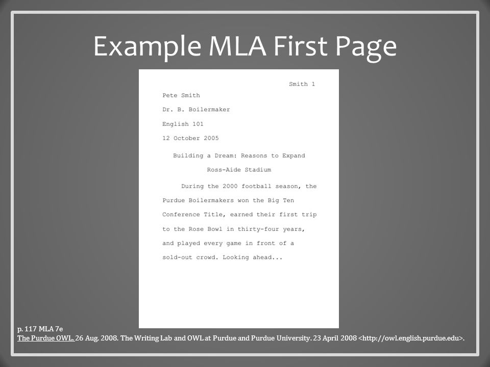 Documentation  Refers to the Works Cited page at the end of the paper & in-text citations  The List – is labeled Works Cited (centered, no font changes) – starts at the top of a new page – continues page numbering from the last page of text – is alphabetical – is double spaced – uses a hanging indent (1/2 inch – can be formatted from the Paragraph dialog box in MS Word) p.