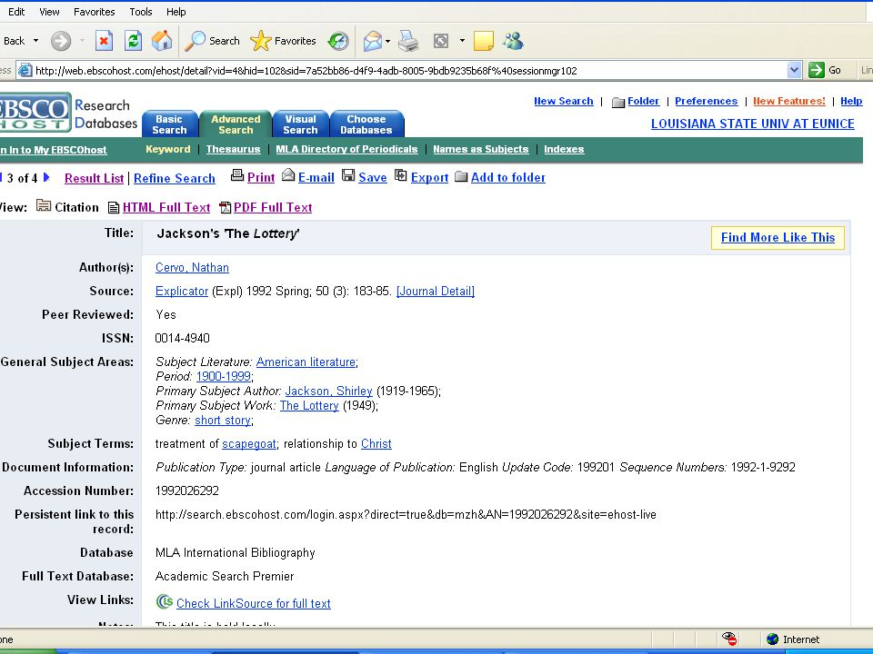 Database Citation:  Cervo, Nathan. Jackson's 'The Lottery'. Explicator 50.3 (1992): 183-85.