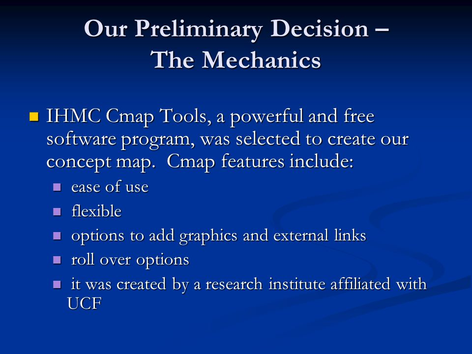 Our Preliminary Decision – The Mechanics Most of the other free software programs for mapping that we found focus on the creation of mind maps.