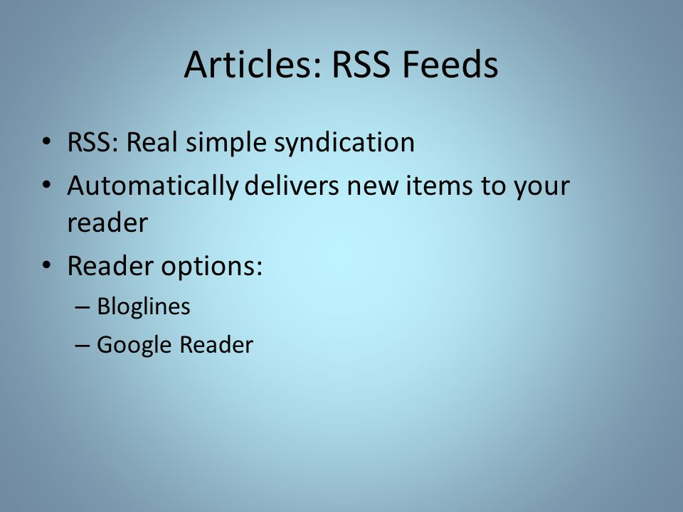 Articles: RSS Feeds