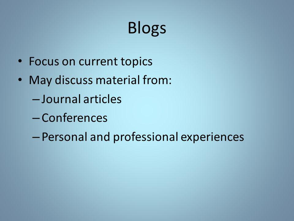 Blogs: RSS Feeds