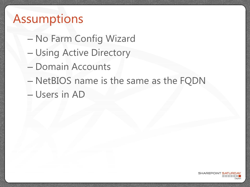 Permissions Farm Account – Log on Locally (Set first) – Administrator (Only during Provisioning) Sync Account – Replicating Directory Changes Permissions Content Access Account User Profile Service Account