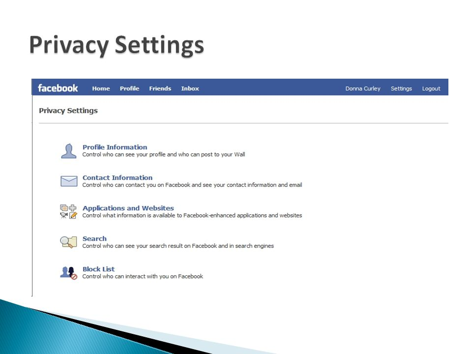  Controlling Your Privacy Settings  Update to privacy settings  Privacy settings and fundamentals  Friend Lists and Limited Profile  Controlling Who Can Find You  Search privacy and the Suggestions feature  Blocking people  Public search listings on internet search
