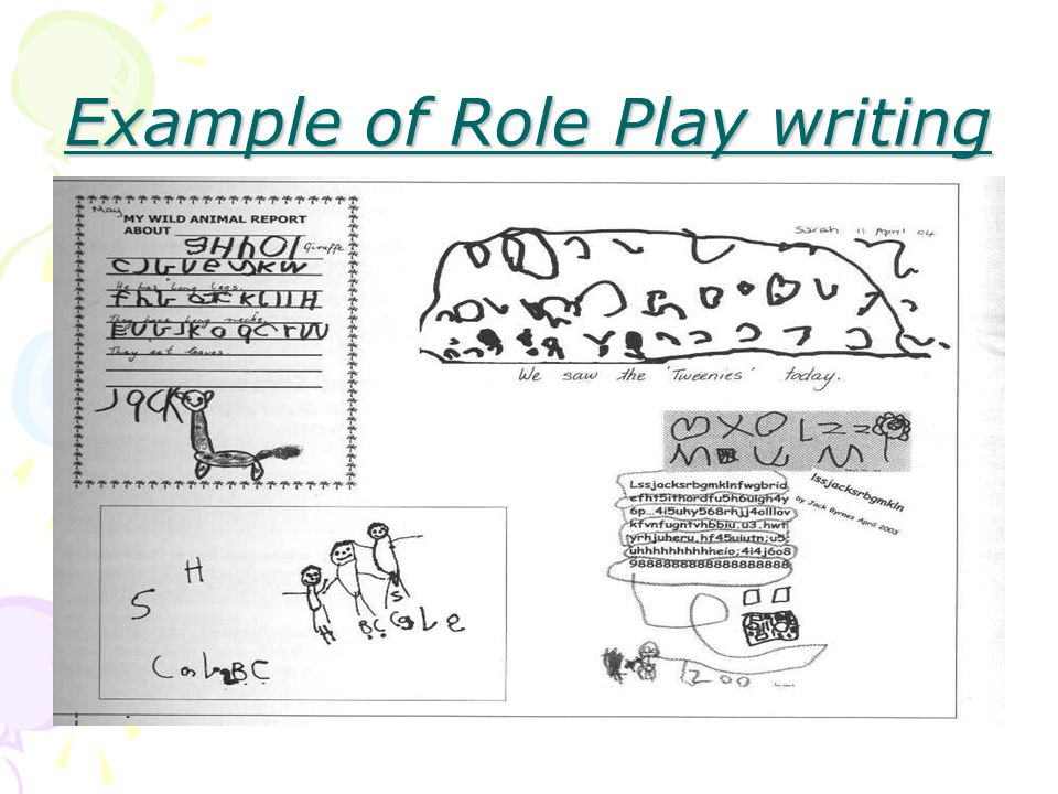 Emergent Writing Phase Children are aware that speech can be written down.
