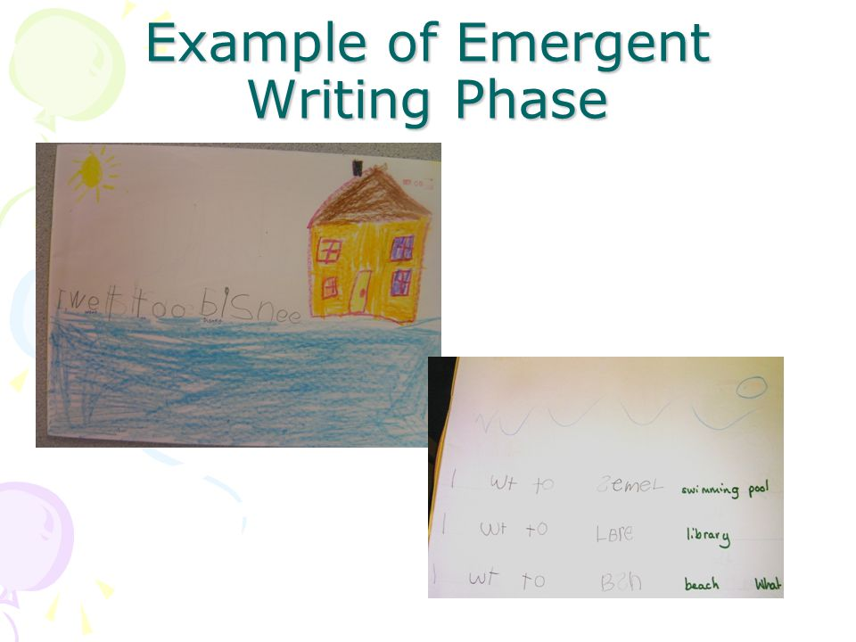 Early Writing Phase Children will produce a small range of texts that exhibit some of the conventions of writing eg, retells, reports and weekend news At this stage your child will have a small bank of high frequency words that they spell correctly eg, and, they, come, have When writing unknown words they rely on phonic knowledge