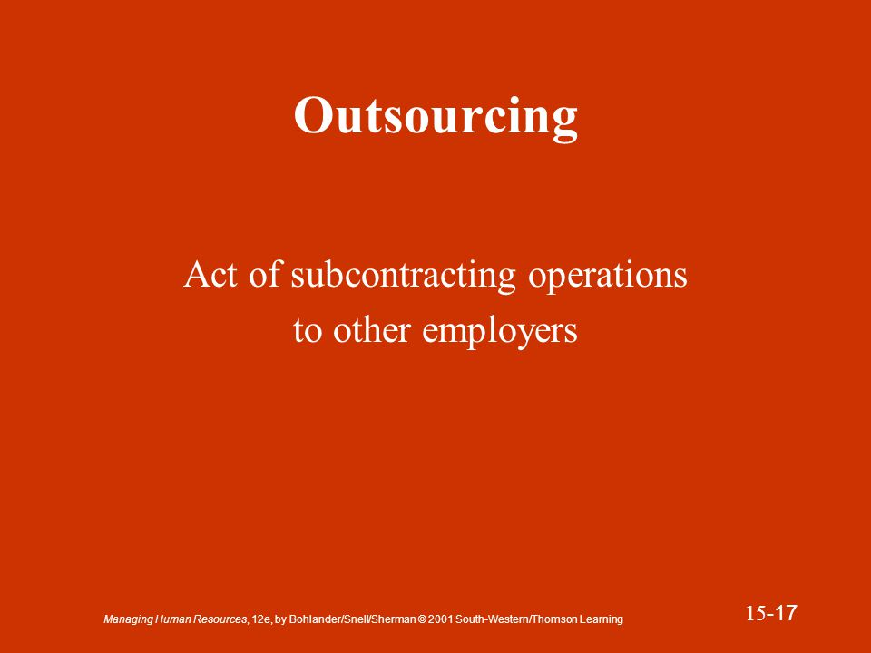 Managing Human Resources, 12e, by Bohlander/Snell/Sherman © 2001 South-Western/Thomson Learning 15 -18 Lockout Strategy by which the employer denies employees the opportunity to work by closing its operations