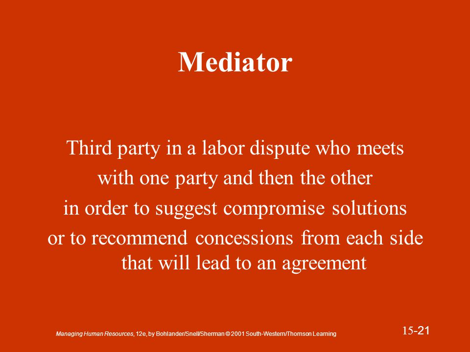 Managing Human Resources, 12e, by Bohlander/Snell/Sherman © 2001 South-Western/Thomson Learning 15 -22 Arbitrator Third-party neutral who resolves a labor dispute by issuing a final decision in the disagreement