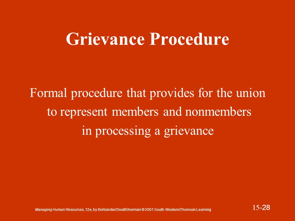 Managing Human Resources, 12e, by Bohlander/Snell/Sherman © 2001 South-Western/Thomson Learning 15 -29 Presentation Slide 15-6 Grievance Procedure Immediate Supervisor Grievance Immediate Supervisor Union Steward Department Manager Chief Steward VP Industrial Relations Local Union Representative Arbitration Contract Violation Step 1 Step 2 Step 3 Step 4 Step 5