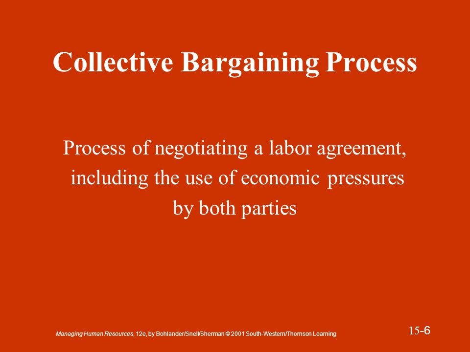 Managing Human Resources, 12e, by Bohlander/Snell/Sherman © 2001 South-Western/Thomson Learning 15 -7 Pattern Bargaining Bargaining in which unions negotiate provisions covering wages and other benefits that are similar to those provided in other agreements existing within the industry or region