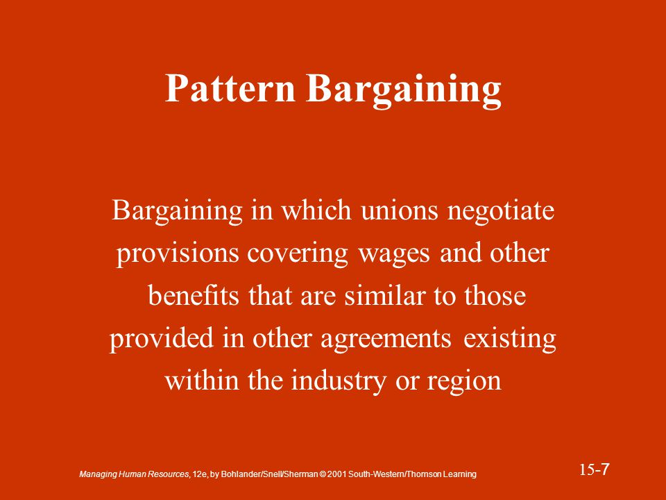 Managing Human Resources, 12e, by Bohlander/Snell/Sherman © 2001 South-Western/Thomson Learning 15 -8 Presentation Slide 15-2 Good-Faith Bargaining #1 The Taft-Hartley act requires that parties: Meet at reasonable times.
