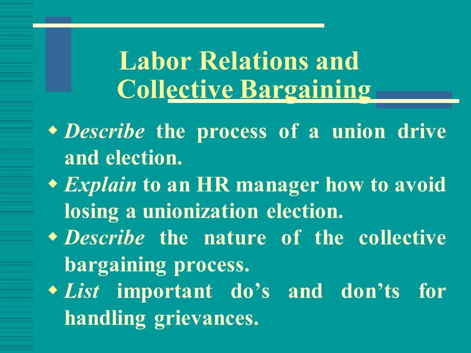 Chapter Outline  Introduction: The Labor Movement  Unions and the Law  The Union Drive and Election  The Collective Bargaining Process  Contract Administration: Grievances  The Future of Unionism